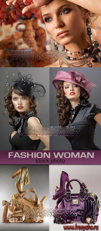 Модные девушки - сумки - туфли - растровый клипарт Fashion woman and shoes.