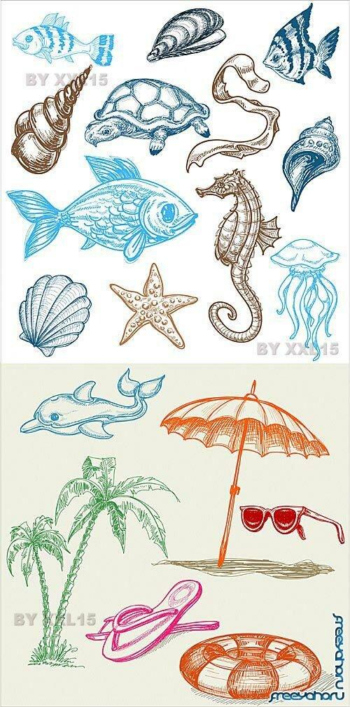 Морские обитатели и предметы летний
