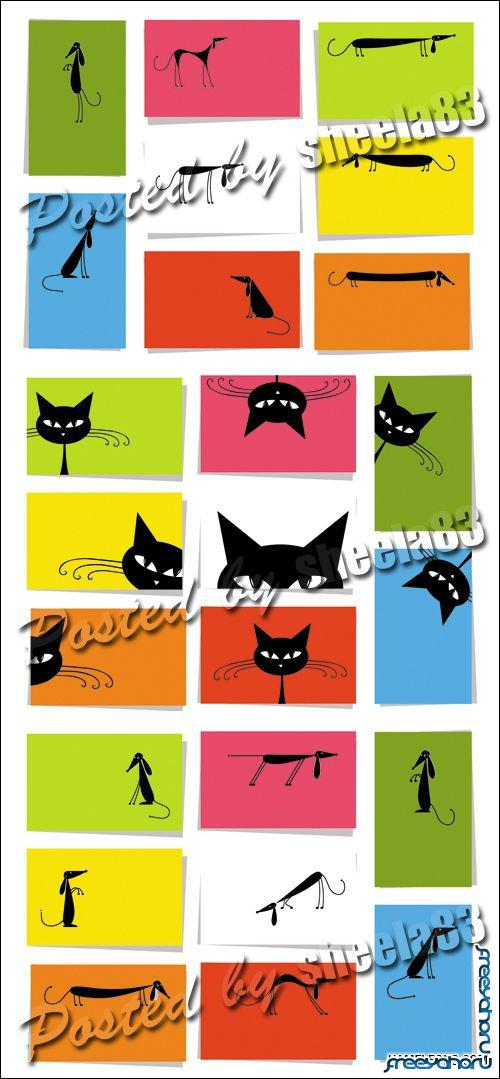 Скачать Забавные кошки и собаки - карточки в векторе | Cat ...