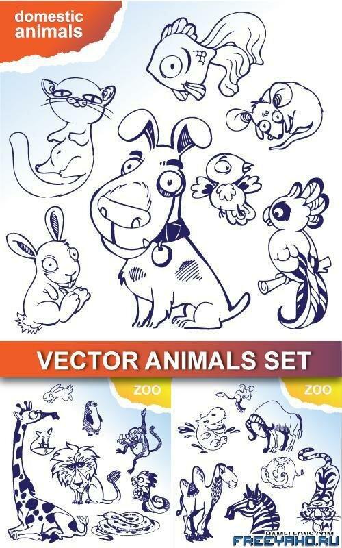 Нарисованные животные в векторе draw