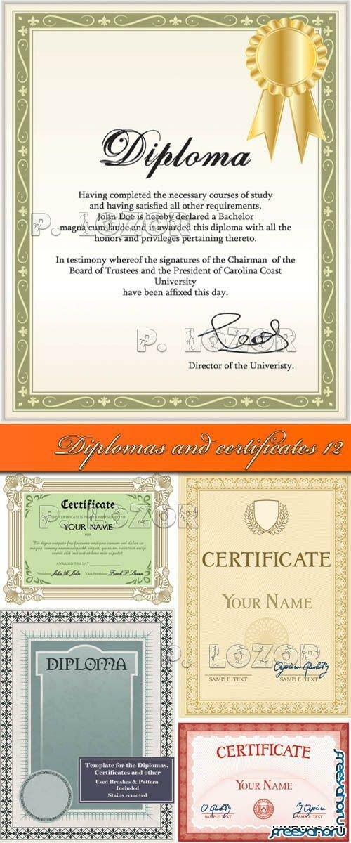 Векторный клипарт Дипломы и сетификаты  Дипломы и сертификаты векторные шаблоны diplomas and certificates