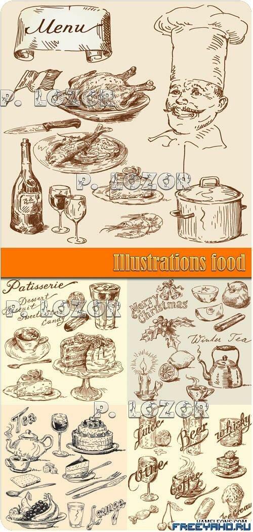 В стиле винтаж с разнообразной едой и
