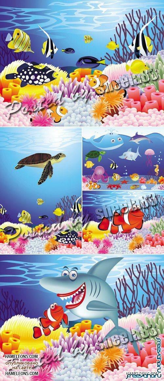 Подводный мир растения и рыбы