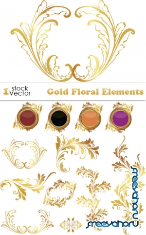 Gold Floral Elements Vector