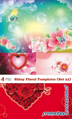 PSD - Shiny Floral Templates (Set 22)