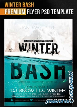 Winter Bash Flyer PSD Template + Facebook Cover