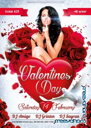 Valentines Day V03 Flyer PSD Template + Facebook Cover