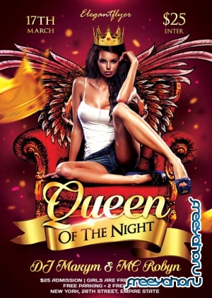 Queen Of The Night Flyer PSD Template + Facebook Cover