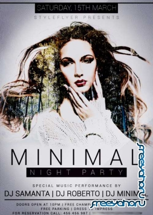 Minimal Night Party V6 PSD Flyer Template with Facebook Cover