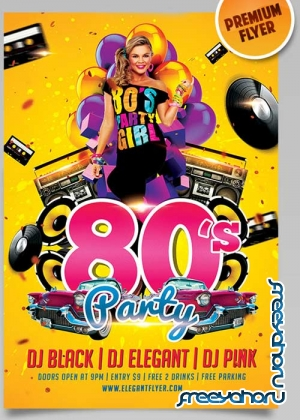 80's Party Flyer PSD Template + Facebook Cover