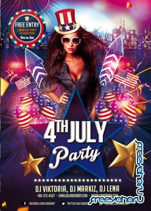 4th Of July Party Flyer V1 PSD Template