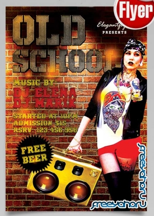 80s Old School Flyer PSD Template + Facebook Cover