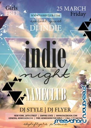 Indie Night V3 PSD Flyer Template with Facebook Cover