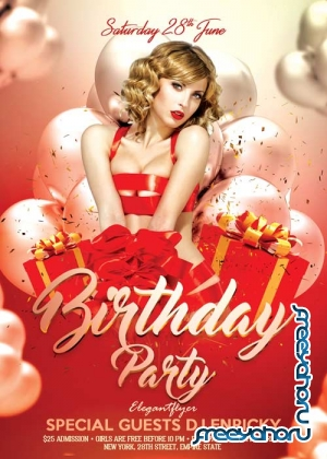 Birthday Party V02 Flyer PSD Template + Facebook Cover