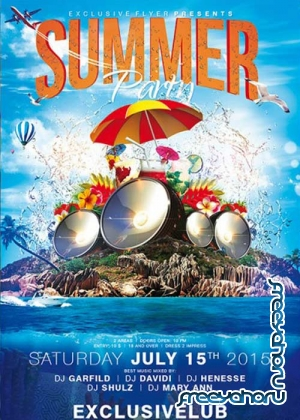 Summer Party V15 Premium Flyer Template + Facebook Cover