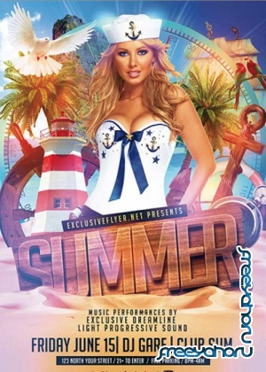 Summer Party v14 Premium Flyer Template + Facebook Cover