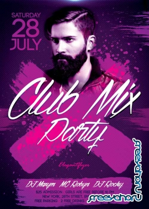 Club Mix Party V1 Flyer PSD Template + Facebook Cover