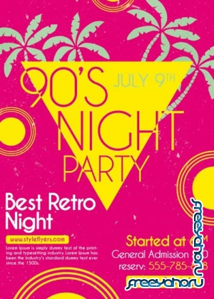 90's Night Flyer PSD Flyer Template