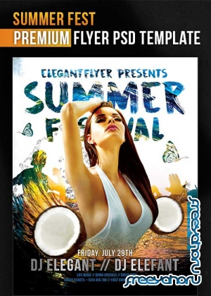 Summer Fest Flyer PSD Template + Facebook Cover