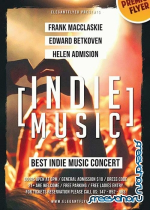 Indie Music V10 Flyer PSD Template + Facebook Cover