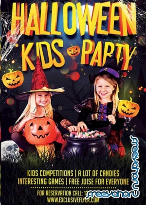 Kids Halloween V8 Premium Flyer Template + Facebook Cover