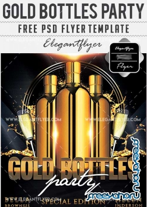 Gold Bottle Party Flyer PSD V17 Template + Facebook Cover