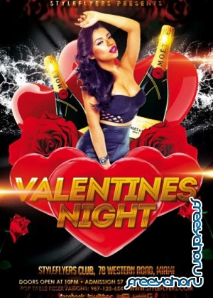 Valentines Night PSD V31 Flyer Template with Facebook Cover