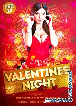 Valentines Exclusive Party Night Club and Party Flyer PSD V30 Template