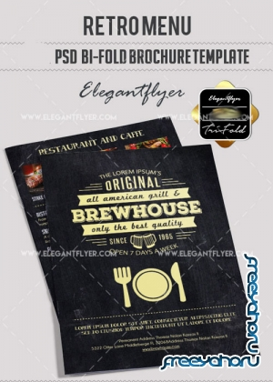 Retro Menu V10 Bi-Fold PSD Brochure Template Food Menu