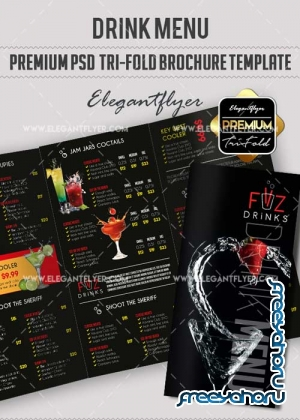 Drink Menu V5 Premium Tri-Fold PSD Brochure Template Food menu