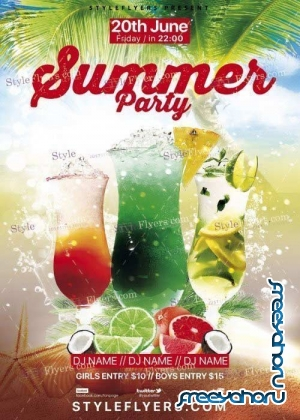 Summer Party Flyer V41 PSD Template