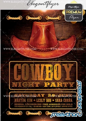 Cowboy Night Party V14 Flyer PSD Template + Facebook Cover