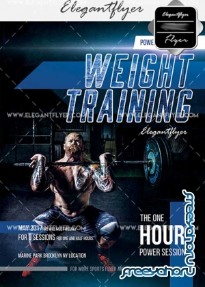 Weight Training V21 Flyer PSD Template + Facebook Cover
