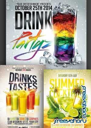 Drink Party 3in1 V1 PSD Flyer Template