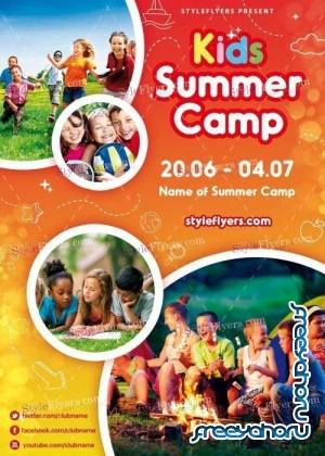 Kids Summer Camp V8 PSD Flyer Template