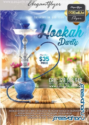 Hookah Party V27 Flyer PSD Template + Facebook Cover