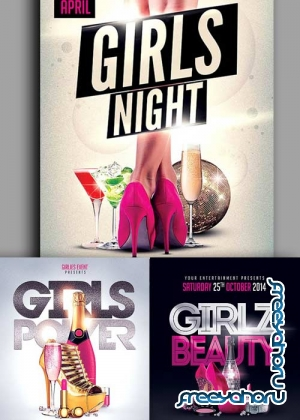 Girls Party 3in1 V1 Flyer Template