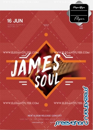 James Soul Concert V10 Flyer PSD Template + Facebook Cover