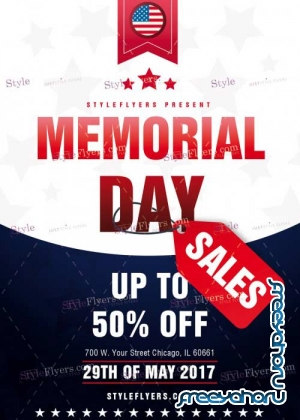 Memorial Day Sales V1 PSD Flyer Template