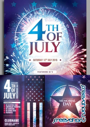 4th of July  3in1 V1 Flyer Template
