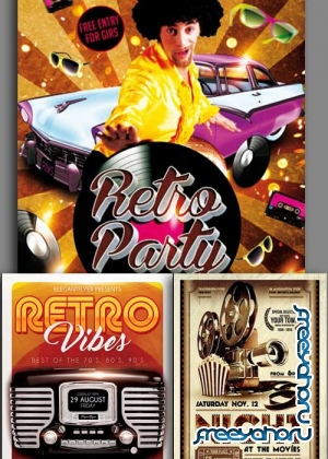 Retro Glamur Party 3in1 V2 Flyer Template
