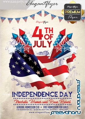 4th of July 2017 V24 Flyer PSD Template + Facebook Cover