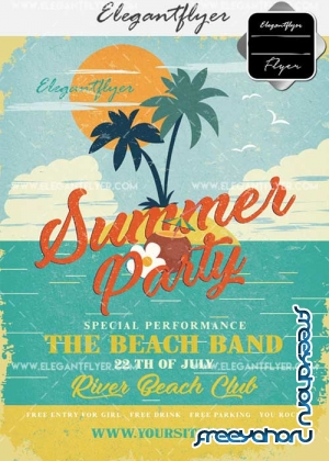 Summer Party V42 Flyer PSD Template + Facebook Cover
