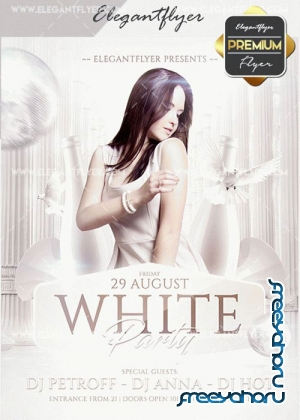 White Party V30 Flyer PSD Template + Facebook Cover