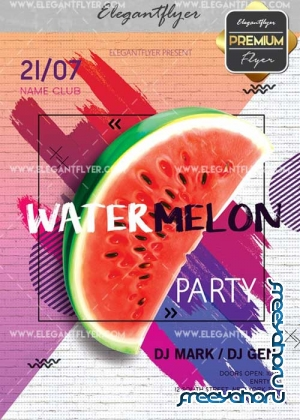 Watermelon Party V5 Flyer PSD Template + Facebook Cover