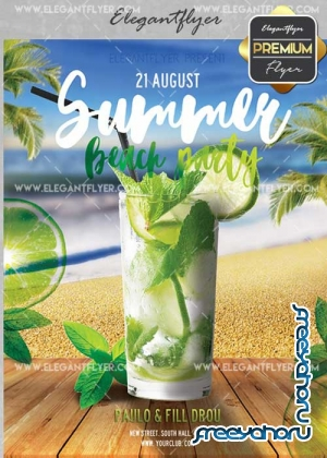 Summer beach Party V20 Flyer PSD Template + Facebook Cover