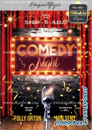 Comedy Night V18 Flyer PSD Template + Facebook Cover