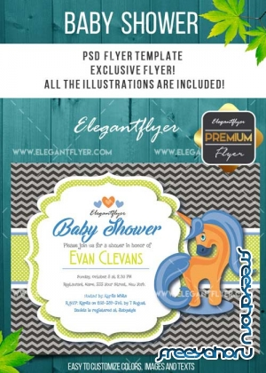 Baby Shower V12 Flyer PSD Template + Facebook Cover