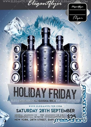 Holiday Friday V19 Flyer PSD Template + Facebook Cover