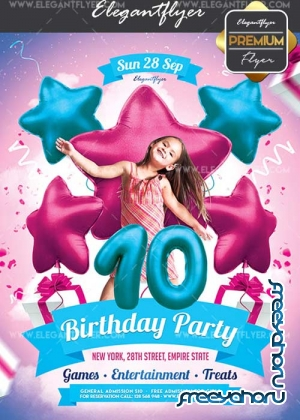 Kids Birthday Invitation V15 Flyer PSD Template + Facebook Cover